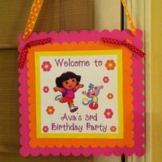 Dora Birthday Party Door Hanger