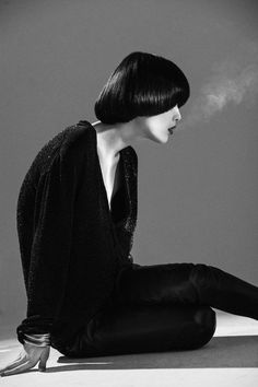 "Mae Lapres wears SAINT LAURENT by Hedi Slimane for PPAPER FASHION magazine editorial ""SMOKING-NO SMOKING"" PHOTO: Jair Sfez"