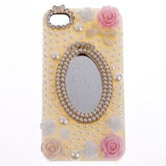 Luxury Bling Rose Flowers pearl mirror 3D Phone Case Cover For Apple iphone4 4s