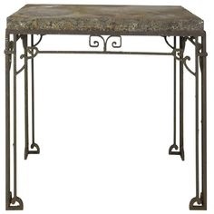 Contemporary iron base garden table with a slate top in a weathered finish. Wrought Iron Console Table, Garden Table, Vanity Bench, Slate, Entryway Tables, Contemporary, Antiques, Furniture, French