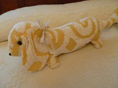 Upcycled Vintage Chenille Bedspread-Dachshund-Doxie-Large