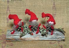 Tontut - tonttu tontut punainen lakki tonttulakki tonttulakit punaiset käpy kävyt koriste-esine puu puinen jalusta sammal jouluinen joulutunnelma asetelma koriste männynkävyt männynkäpy piippalakki joulukoriste naava iloinen ilme iloiset ilmeet kelopuu kelopuulla