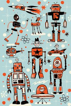 robot freak out. stuff-for-the-boys-i-love Decoration Creche, Arte Robot, Robot Illustration, Retro Robot, Ligne Claire, Retro Futurism, Art Lessons, Collages, Science Fiction