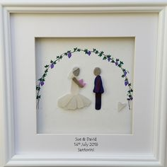 Custom made bride & groom portraits from sea glass and stone. https://www.etsy.com/shop/CornishPebbleArt