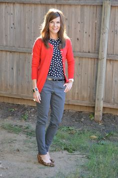 Several ways to wear these grey pants!  I love her style!