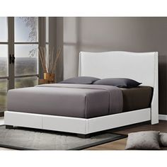 Baxton Studio CF8356-QUEEN-WHITE Duncombe Modern Bed with Upholstered Headboard, Queen, White ** Read more  at the image link.
