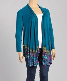 Love this Teal Tie-Dye Open Cardigan -  Plus by Windcircle on #zulily! #zulilyfinds