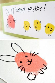 Use your thumbprints to make bunnies + chicks with this fun + easy Easter project.