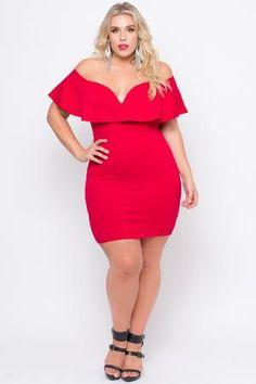 Plus Size Frill Bodycon Dress - Red – Curvy Sense Curvy Girl Lingerie, Curvy Women Fashion, Plus Size Fashion, Curvy Outfits, Urban Outfits, Classy Outfits, Plus Size Dresses, Plus Size Outfits, Plus Size Womens Clothing