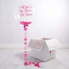 Personalised Flower Girl Bubble Balloon by Bubblegum Balloons, the perfect gift for Explore more unique gifts in our curated marketplace. Bubblegum Balloons, Bubblegum Pink, Balloon Gift, The Balloon, Unique Wedding Gifts, Gift Wedding, Wedding Things, Flower Girl Gifts, Flower Girls