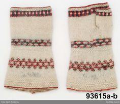 Swedish twined knitted half mittens from Järna.