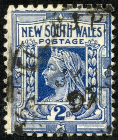 """New South Wales 1897 Scott 99 deep blue """"Queen Victoria"""" Rare Stamps, Vintage Stamps, Postage Stamp Design, Stamp Printing, Pin Up, Stamp Collecting, Mail Art, My Stamp, Going Postal"""