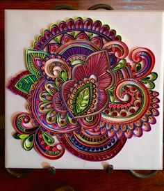 First large quilling piece, not poured yet. 6x6 tile. Lauren Byrne