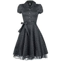 "H&R London Keskipitkä mekko, Naiset ""Black White Small Dot Long Dress"" musta-valkoinen • EMP.fi"