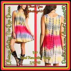 Always Artsy Tie-Dye Dress Always Artsy Tye-Dye Dress you'll  get a reputation for style creativity with numbers like the Always Artsy Yellow Pink Tie-Dye Dress! With Yellow and Pink background this Rayon Blend super soft knit boasts a Boho tie-dye print down to the mid thigh hem. * Unlined. * Material : Rayon Blend Dresses Midi