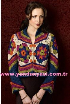 Ravelry: Motif Jacket pattern by Doris Chan Crochet Bolero, Gilet Crochet, Crochet Coat, Crochet Jacket, Crochet Cardigan, Crochet Granny, Crochet Skirts, Crochet Clothes, Mode Crochet