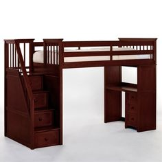 Schoolhouse Stairway Loft Bed with Desk - Cherry - Loft Beds at Simply Bunk Beds - Click image to find more architecture Pinterest pins