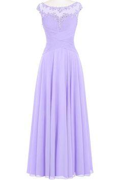 ORIENT BRIDE Women A-Line Sheer Neck Chiffon Long Prom Dresses Size 2 US Lilac