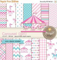 50% OFF Carousel Digital Paper Pink Girl by JennyLDesignsShop