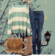 """""""Mint Lace Country Fall Outfit"""" by natihasi on Polyvore"""