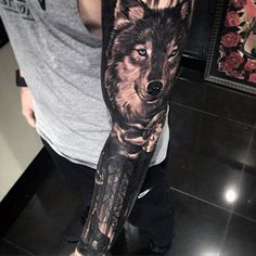Masculine Realistic Wolf Sleeve Tattoo Designs For Men