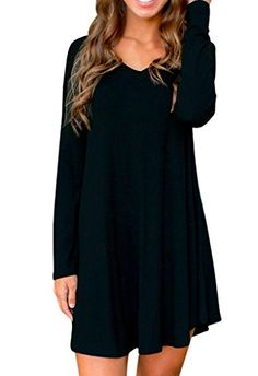 Face N Face Women's Cotton Long Sleeve Casual Skater Short Dress Tunics ** For more information, visit image link.