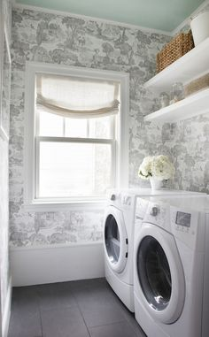 Laundry room, black and white, toile wallpaper
