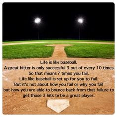Quote: Life is like baseball . Quote: Life is like baseball . Espn Baseball, Baseball Quotes, Baseball Boys, Baseball Season, Baseball Field, Baseball Dugout, Baseball Gear, Baseball Stuff, Baseball Scoreboard