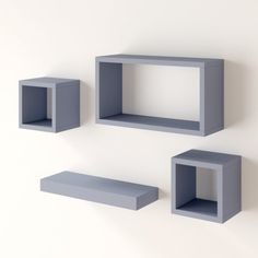 This contemporary four-piece set of floating shelves offers an eye-catching solution to storage in the home. Suitable for any room in which they are needed, each of these shelves has a different design and is made from manufactured wood. Whether they are used for storage or display, these shelves are a stylish addition to the home.