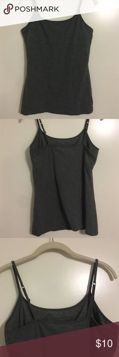 Express bra cami tank top Express bra cami tank top in heather grey with shelf bra and adjustable straps Express Tops Tank Tops