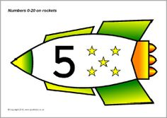 de ruimte: getallen 1-20 op raket