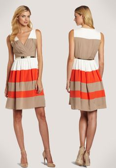 Hot Dresses: Eliza J Women's Belted Colorblock Dress (Multi)