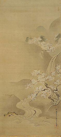 春景図 (Spring Landscape) Date 1672 Medium Hanging scroll: Ink and tint on silk Kanō Tan'yū (狩野 探幽?, 4 March 1602 – 4 November 1674) was one of the foremost Japanese painters of the Kanō school.