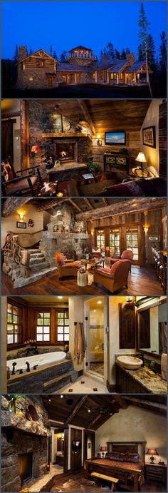Foxtail residence from Big Sky log cabins - DIY Traumhaus Log Cabin Homes, Log Cabins, Log Home Decorating, Decorating Ideas, Decor Ideas, Cabins And Cottages, Mountain Homes, Cabins In The Woods, Luxury Houses