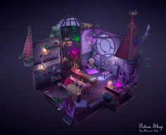 """This is a stylized environment piece of a Potion Shop taken from the concept art for the game """"Potionomics"""". The concept art is made by Mick Mowat & Josh Hutchinson from AtomHawk Design. Check out the original concept art here: Fantasy Landscape, Landscape Art, Fantasy Art, Environment Concept Art, Environment Design, The Sims, Witch Room, Video Game Costumes, Isometric Art"""