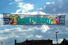 Cool Farmers Market festival banner by Banner Art Studio. Made using border applique method and translucent Dupont Solarmax fabric.