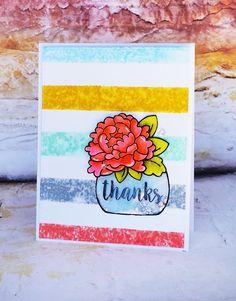 Flower Vase Shaker Card / Avery Elle Peonies / Simon Says Stamp Stripe stamp