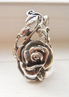 Sterling Silver Rose Ring Vintage Oxidized sz 85 by LakeBreezes, $35.50