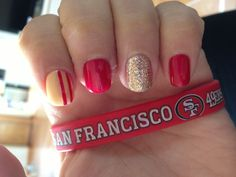 49ers nails!!! Fresh paint for the game tomorrow!