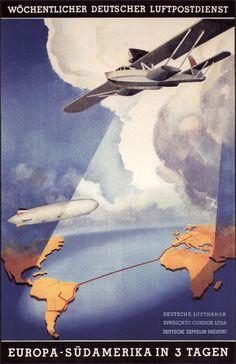 Vintage Lufthansa Luftpost-AirMail Poster
