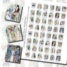Images,Digital,Stickers,Collage,Illustration,jane austen,mansfield park,c e brock,brock,art,scrabble tile,rectangle
