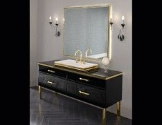 """Luxury Italian bathroom vanity shown in lacquered black glass in a 70.9"""" width. Counter top in glass with Monoblock washbasin and 2 lower pull-out drawers with fascia on upper drawers.  Finishes: 30 lacquered glass colors, bronze or smoke mirror, gold or silver aligator and Ebony wood with hardware in silver or gold. Made in Italy."""
