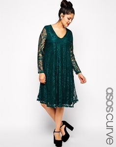 Enlarge ASOS CURVE Exclusive Swing Dress In Lace With Deep V & Sleeve In Longer Length