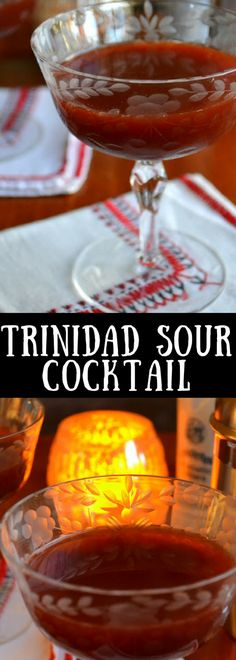 The Trinidad Sour Cocktail is quite possibly the most romantic cocktail in the world.with its deep crimson color and seductive flavor, it's definitely one you'll want to have on hand for that special night. Sour Cocktail, Cocktail Drinks, Fun Drinks, Cocktail Recipes, Cocktails, Romantic Desserts, Romantic Meals, Trinidad, Booze Drink