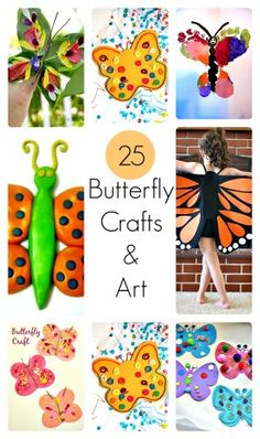 25 unique butterfly crafts and butterfly themed art projects, learning activities and butterfly creations for children. Great for spring! #springcraftsforkids #butterflycrafts