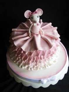 Angelina Ballerina Birthday Cake made for a little girl turning Cake inside was french vanilla dyed in a gradient of purple for each layer. Angelina figure is gum paste & fondant and ruffles are fondant. Angelina Ballerina, Beautiful Birthday Cakes, Gorgeous Cakes, Amazing Cakes, Ballerina Birthday Parties, Ballerina Party, Pink Sweets, Ballerina Cakes, Character Cakes