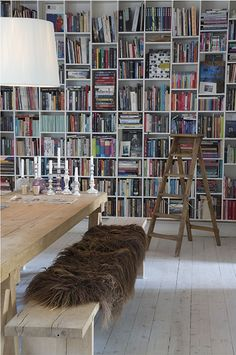 That fur thing is nasty but the bookshelf and stepladder are beautiful