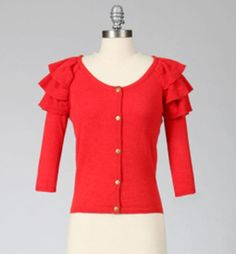 Red for the Holidays.  Fabulous Long Sleeve Cardigan with Shoulder Ruffles by Tulle.  Shop our variety of sizes at www.TheShoppingBagStore.com  #cardigan #red #sweaters