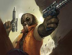 Unidentified Aqualish bounty hunter (Outer Rim) - Wookieepedia, the Star Wars Wiki