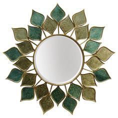 Decorate the wall in any room of your home with the StyleCraft Sunburst Petals Beveled Wall Mirror . This round mirror features gold and green petals. Outdoor Mirror, Good Night Love Images, Flower Mirror, Mirror Shapes, Green Home Decor, Sunburst Mirror, Beveled Mirror, Round Mirrors, Green And Gold